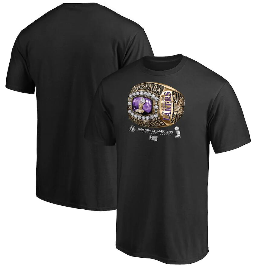 Men's Los Angeles Lakers Black 2020 NBA Finals Champions Bling Diamond T-Shirt