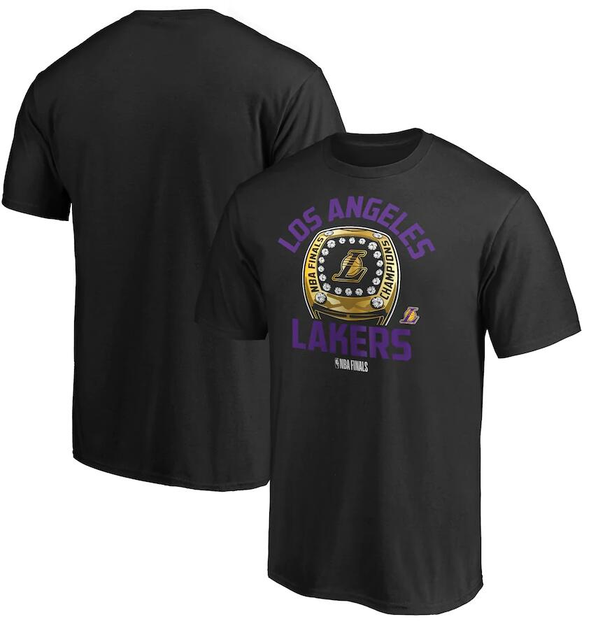 Men's Los Angeles Lakers Black 2020 NBA Finals Champions Finger Roll Ring T-Shirt