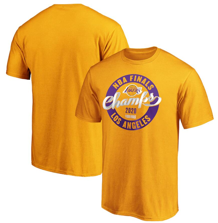 Men's Los Angeles Lakers Gold 2020 NBA Finals Champions Zone Laces T-Shirt