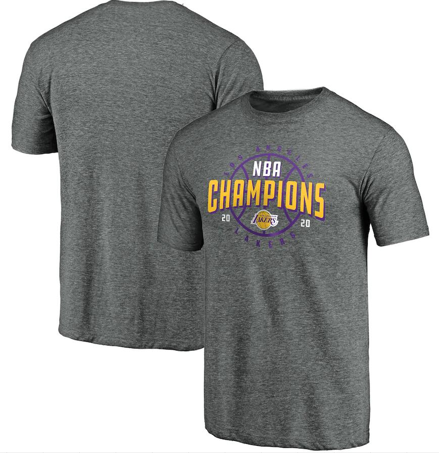 Men's Los Angeles Lakers Gray 2020 NBA Finals Champions Charge Tri Blend T-Shirt