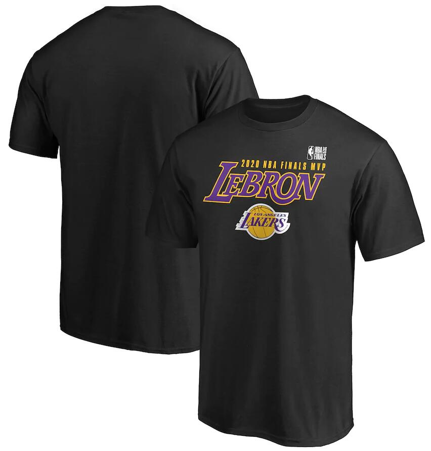 Men's Los Angeles Lakers LeBron James Black 2020 NBA Finals Champions MVP In the Paint T-Shirt