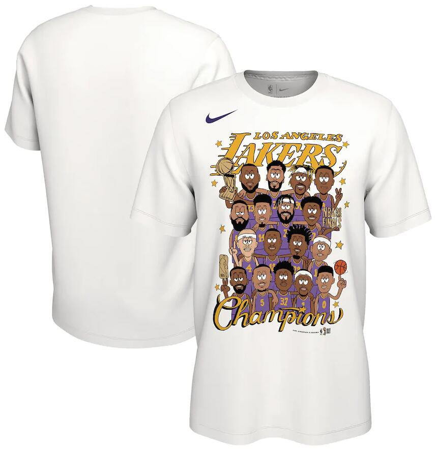 Men's Los Angeles Lakers Nike White 2020 NBA Finals Champions Celebration Roster T-Shirt