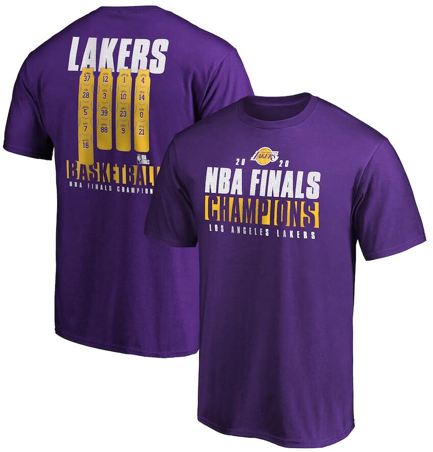 Men's Los Angeles Lakers Purple 2020 NBA Finals Champions Ready To Play Roster T-Shirt