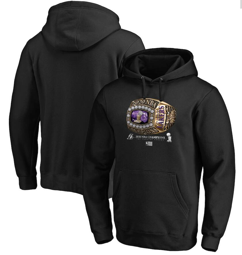 Men's Los Angeles Lakers Black 2020 NBA Finals Champions Bling Diamond Pullover Hoodie