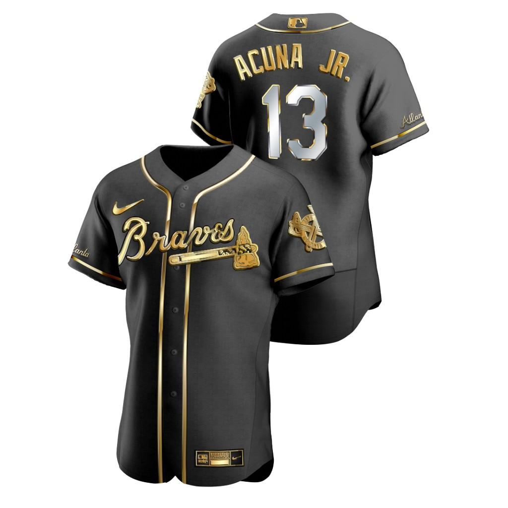 Braves 13 Ronald Acuna Jr. Black Gold 2020 Nike Flexbase Jersey