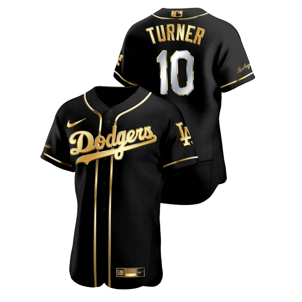 Dodgers 10 Justin Turner Black Gold 2020 Nike Flexbase Jersey