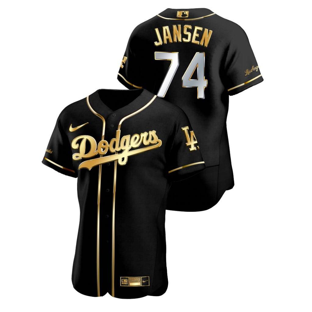 Dodgers 74 Kenley Jansen Black Gold 2020 Nike Flexbase Jersey