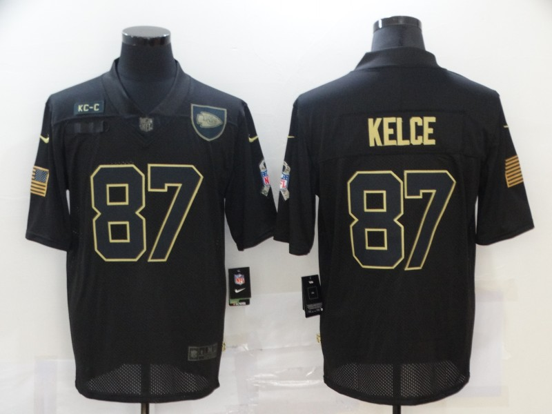 Nike Chiefs 87 Travis Kelce Black 2020 Salute To Service Limited Jersey