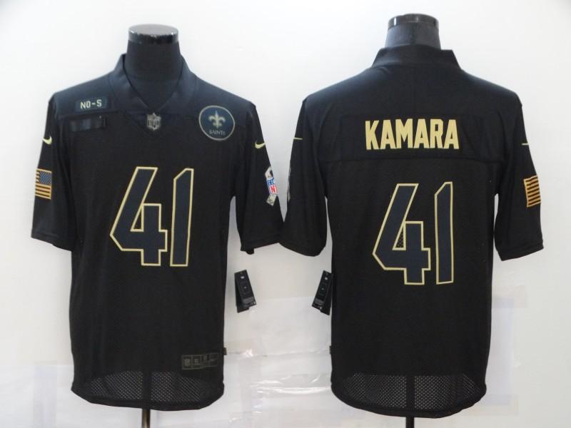 Nike Saints 41 Alvin Kamara Black 2020 Salute To Service Limited Jersey