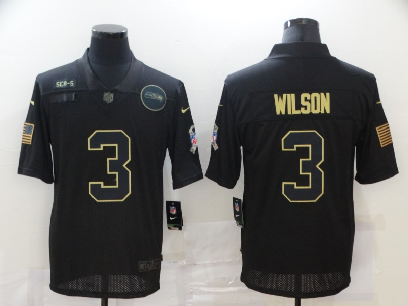Nike Seahawks 3 Russell Wilson Black 2020 Salute To Service Limited Jersey
