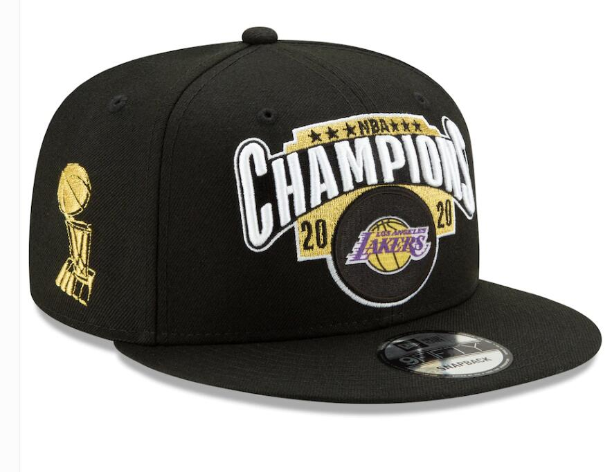 Lakers Team Logo Black 2020 NBA Champions Adjustable Hat SG