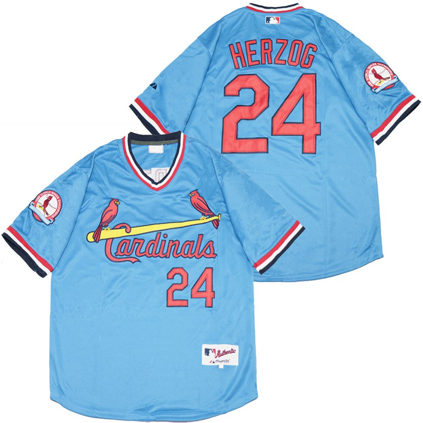 Cardinals 24 Whitey Herzog Blue Throwback Jersey