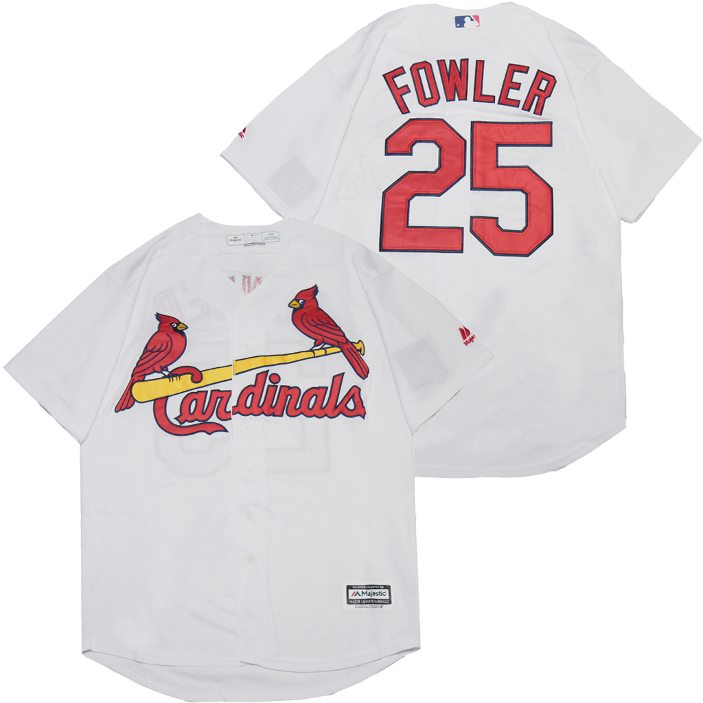 Cardinals 25 Dexter Fowler White Cool Base Jersey