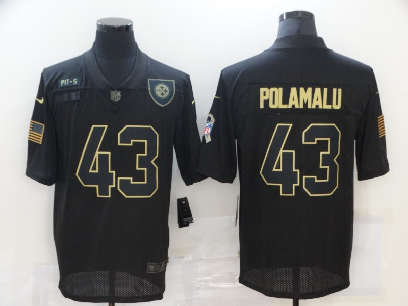 Nike Steelers 43 Troy Polamalu Black 2020 Salute To Service Limited Jersey