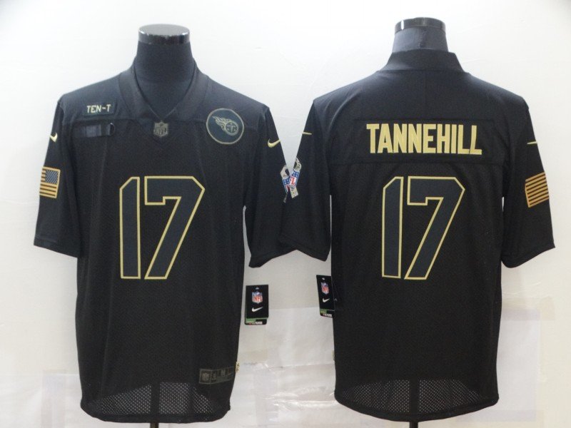 Nike Titans 17 Ryan Tannehill Black 2020 Salute To Service Limited Jersey