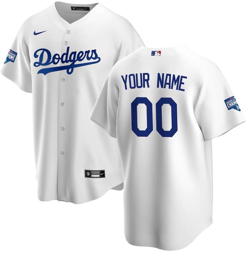 Dodgers Customized White Nike 2020 World Series Champions Cool Base Jersey
