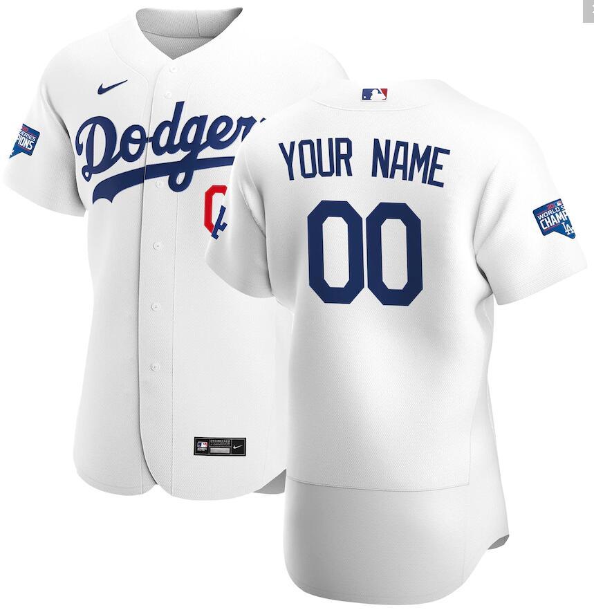Dodgers Customized White Nike 2020 World Series Champions Flexbase Jersey