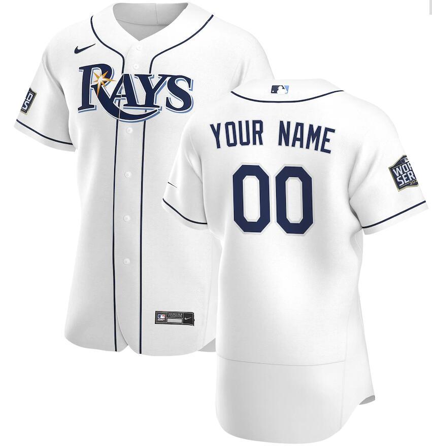 Rays Customized White Nike 2020 World Series Flexbase Jersey