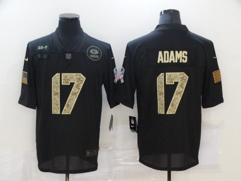 Nike Packers 17 Davante Adams Black Camo 2020 Salute To Service Limited Jersey