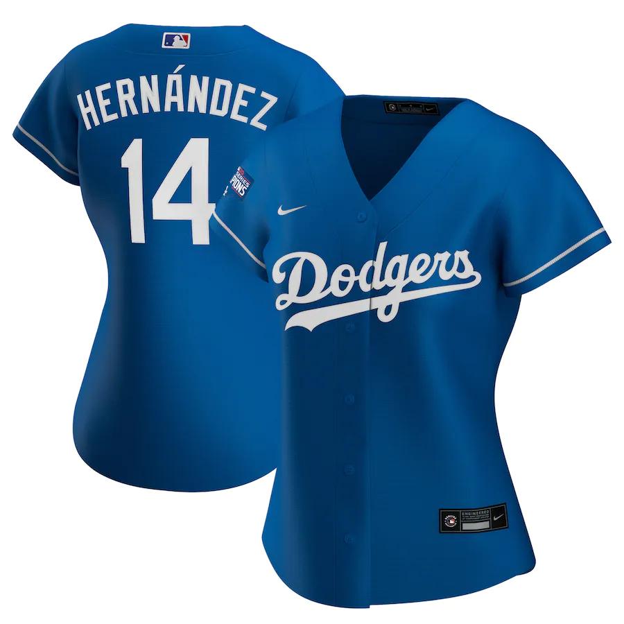 Dodgers 14 Enrique Hernandez Royal Women Nike 2020 World Series Champions Cool Base Jersey
