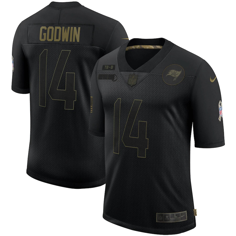 Nike Buccaneers 14 Chris Godwin Black 2020 Salute To Service Limited Jersey