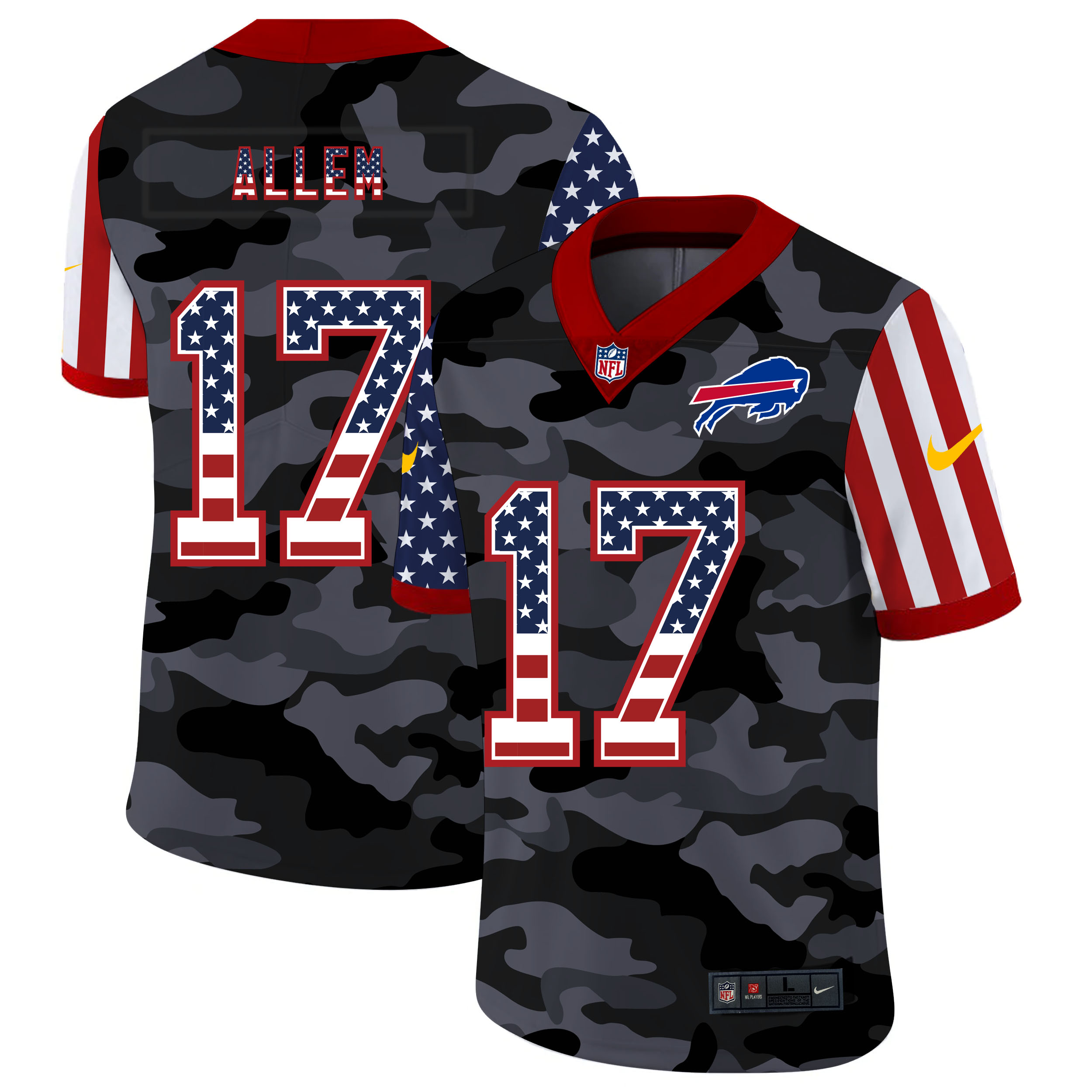 Nike Bills 17 Josh Allen Camo 2020 USA Flag Salute to Service Limited Jersey