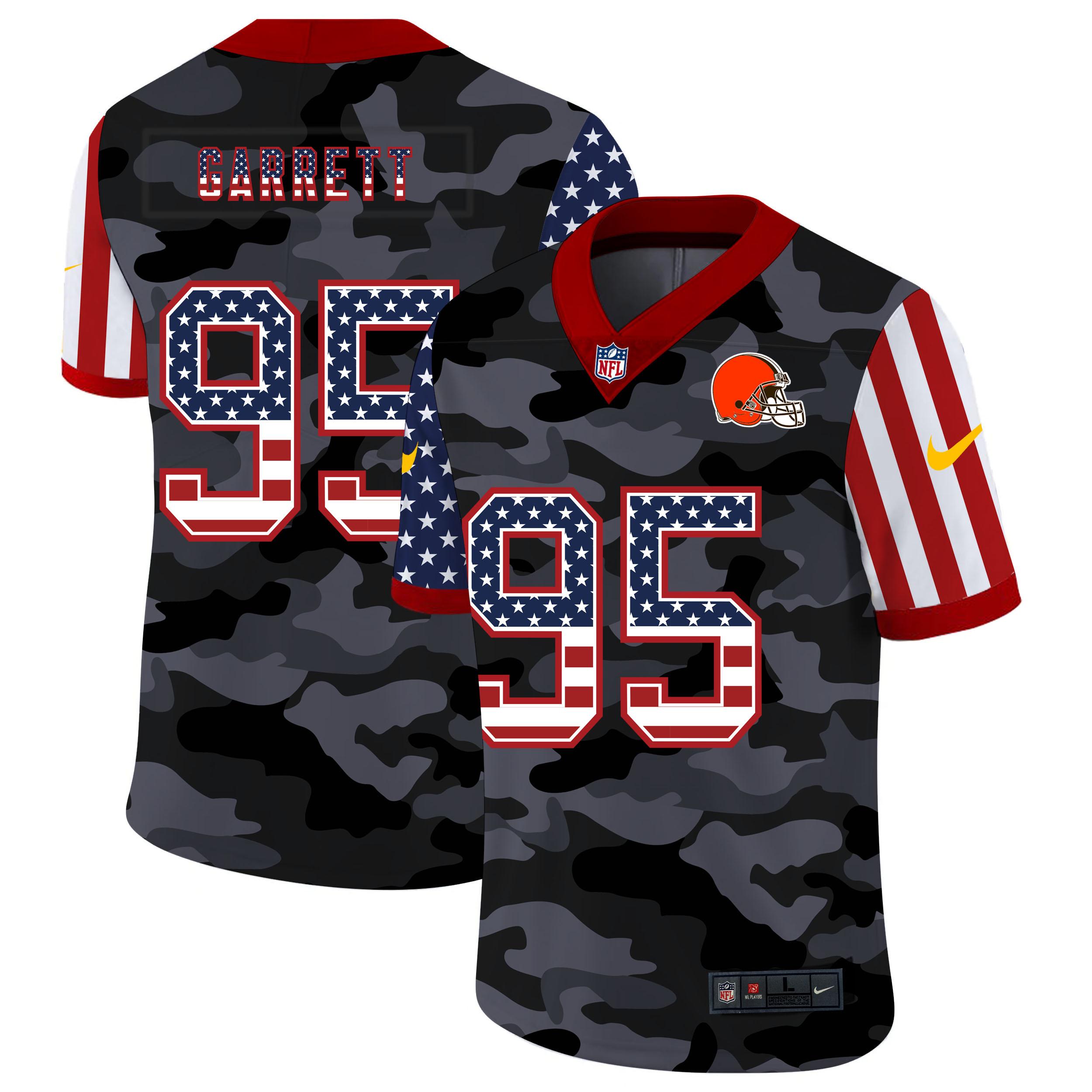 Nike Browns 95 Myles Garrett Camo 2020 USA Flag Salute to Service Limited Jersey