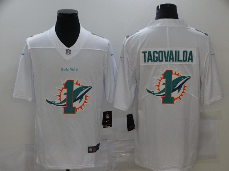 Nike Dolphins 1 Tua Tagovailoa White Shadow Logo Limited Jersey