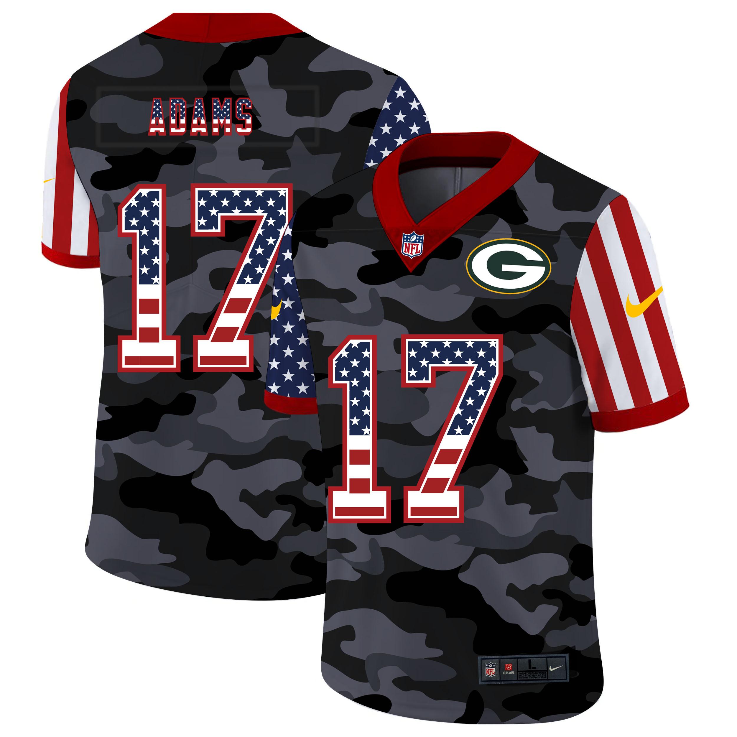 Nike Packers 17 Davante Adams Camo 2020 USA Flag Salute to Service Limited Jersey