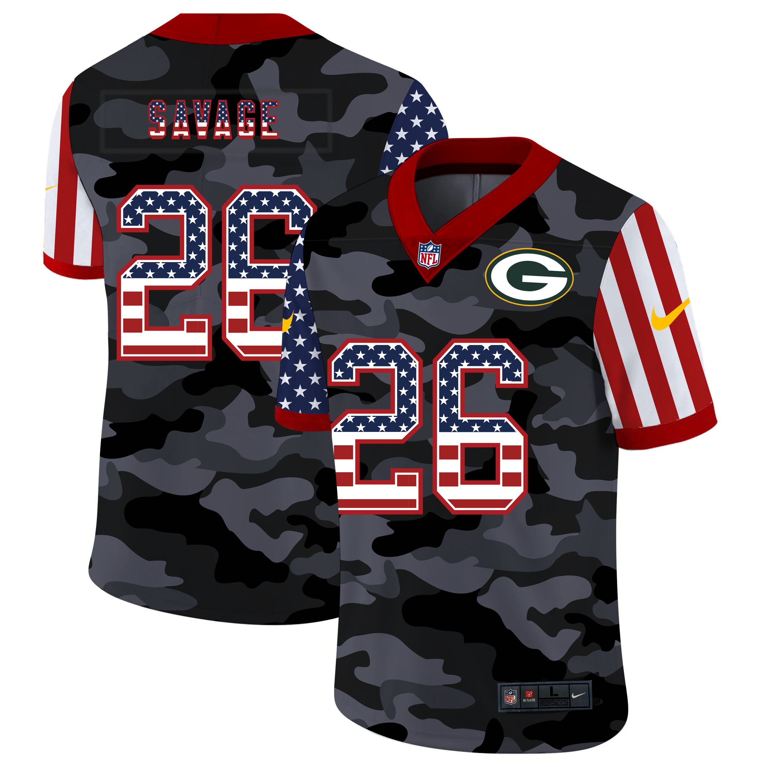 Nike Packers 26 Darnell Savage Jr. Camo 2020 USA Flag Salute to Service Limited Jersey