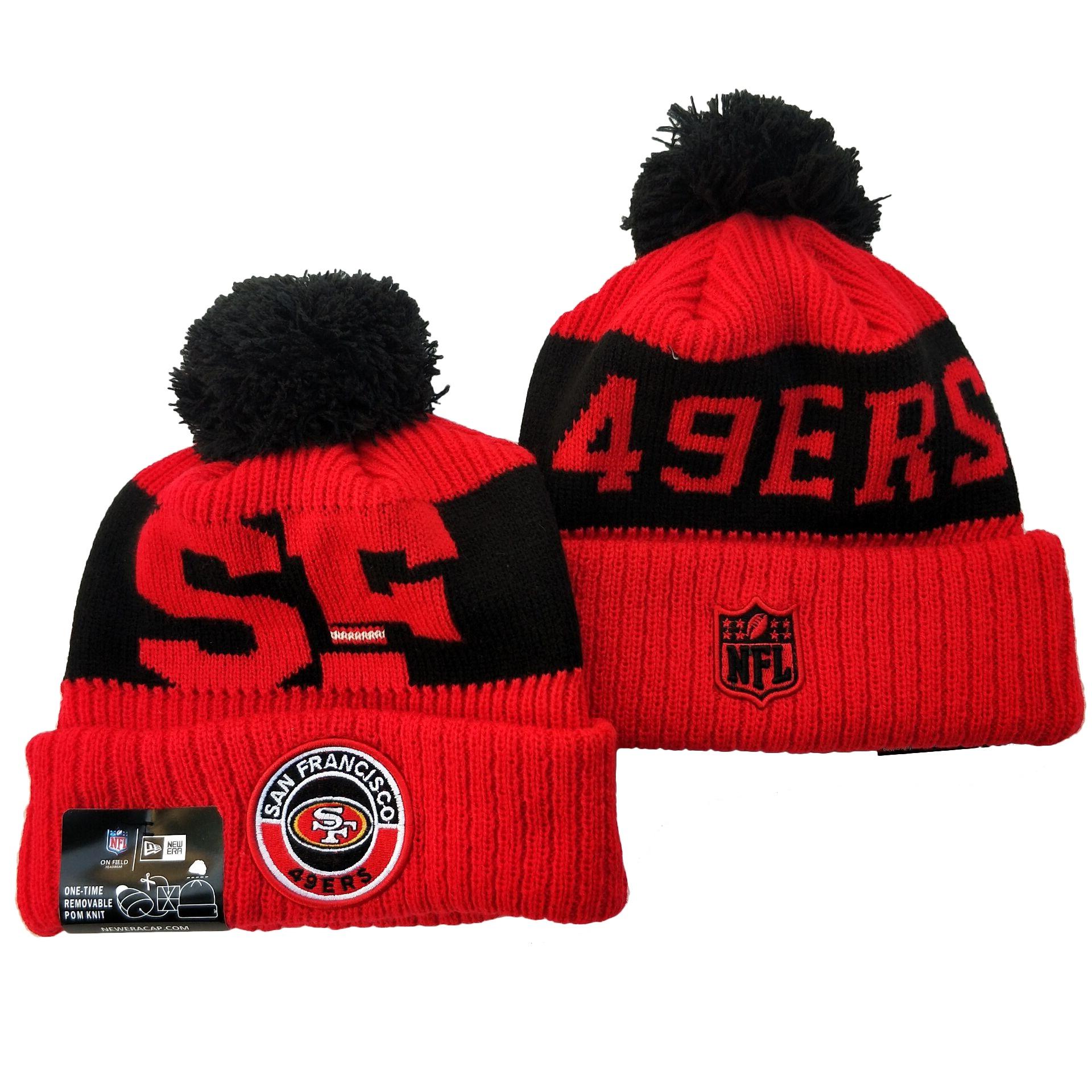49ers Team Logo Red 2020 NFL Sideline Pom Cuffed Knit Hat YD