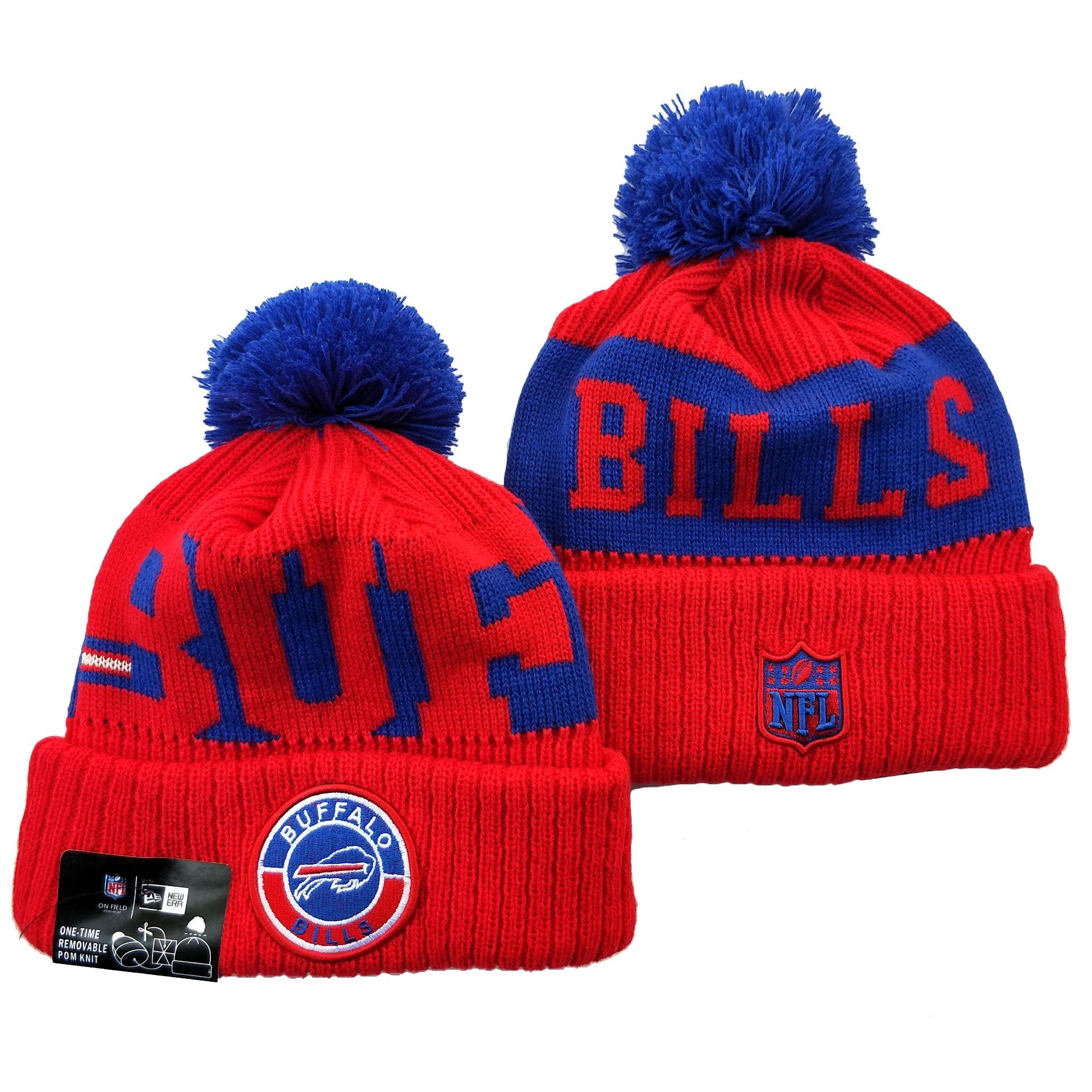 Bills Team Logo Red 2020 NFL Sideline Pom Cuffed Knit Hat YD