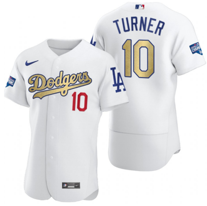 Dodgers 10 Justin Turner White Gold Nike 2020 World Series Champions Flexbase Jersey