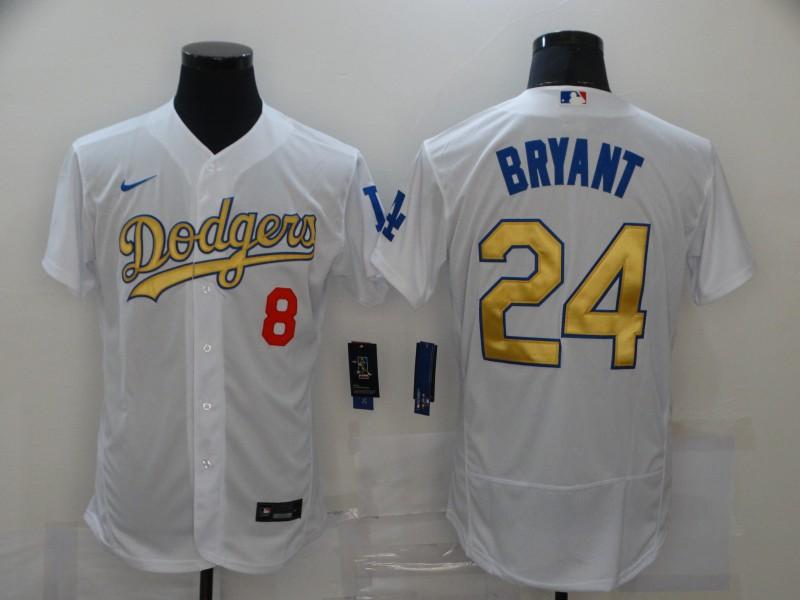 Dodgers 8 & 24 Kobe Bryant White Gold 2020 Nike Flexbase Jersey