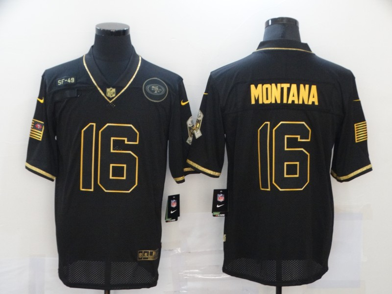 Nike 49ers 16 Joe Montana Black Gold 2020 Salute To Service Limited Jersey