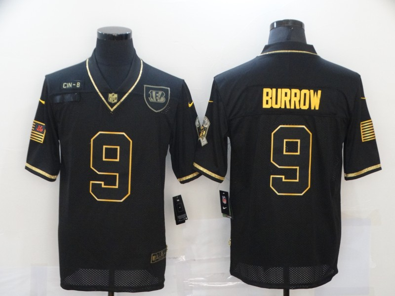 Nike Bengals 9 Joe Burrow Black Gold 2020 Salute To Service Limited Jersey