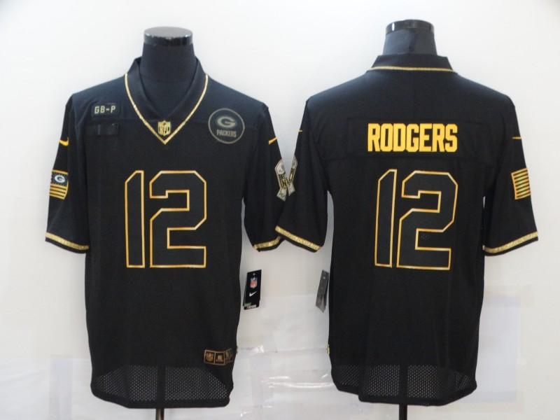 Nike Packers 12 Aaron Rodgers Black Gold 2020 Salute To Service Limited Jersey