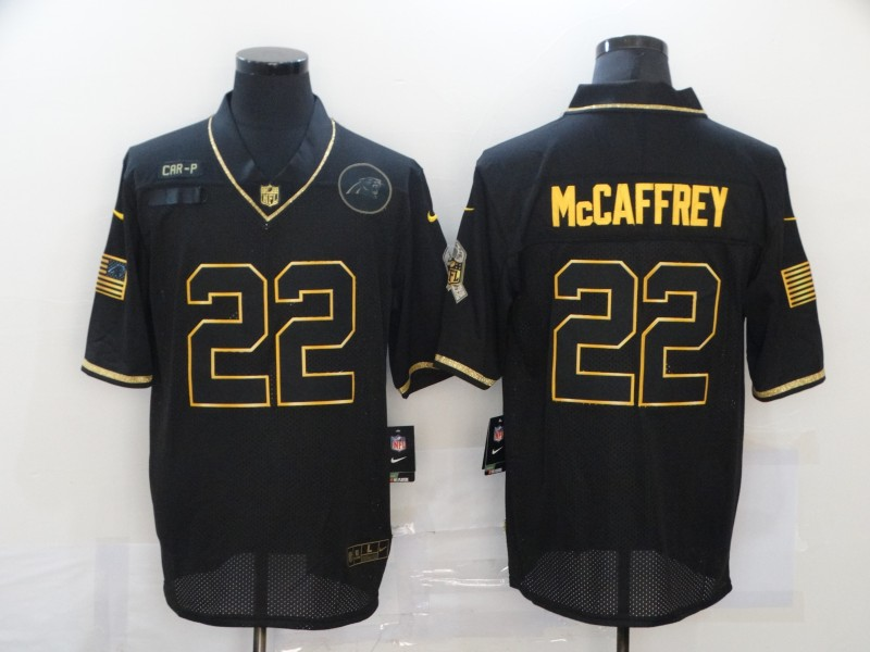 Nike Panthers 22 Christian McCaffrey Black Gold 2020 Salute To Service Limited Jersey
