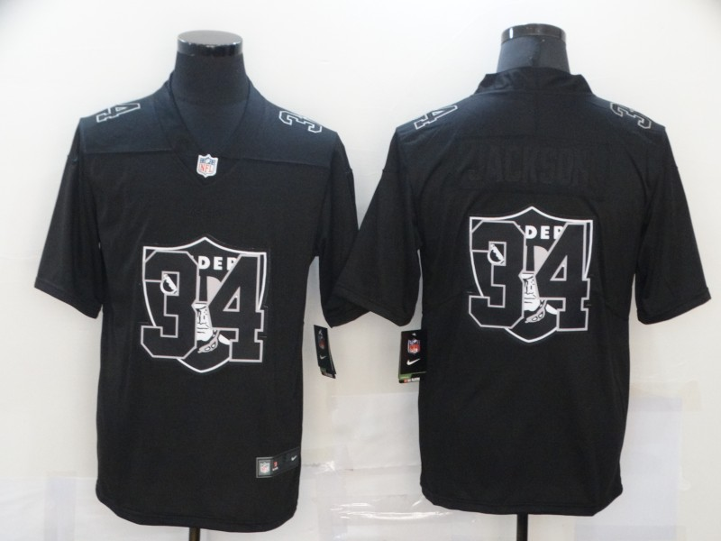 Nike Raiders 34 Bo Jackson Black Shadow Logo Limited Jersey
