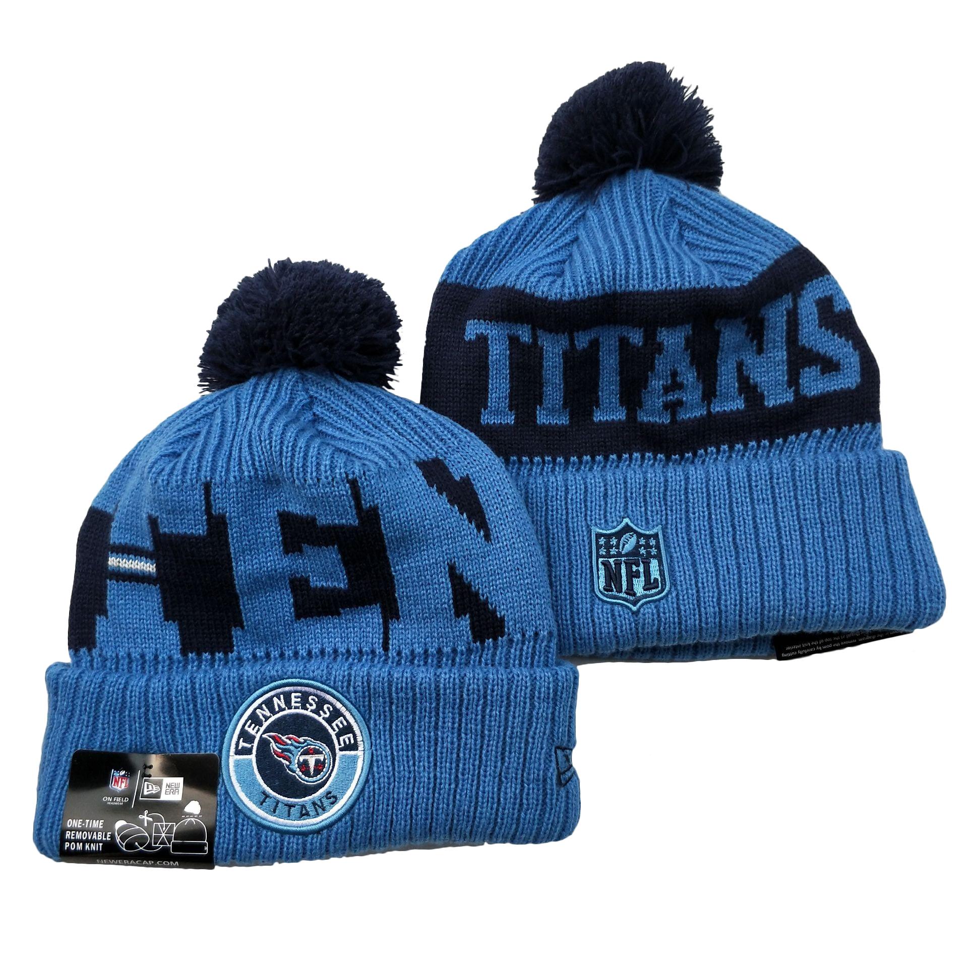 Titans Team Logo Blue 2020 NFL Sideline Pom Cuffed Knit Hat YD