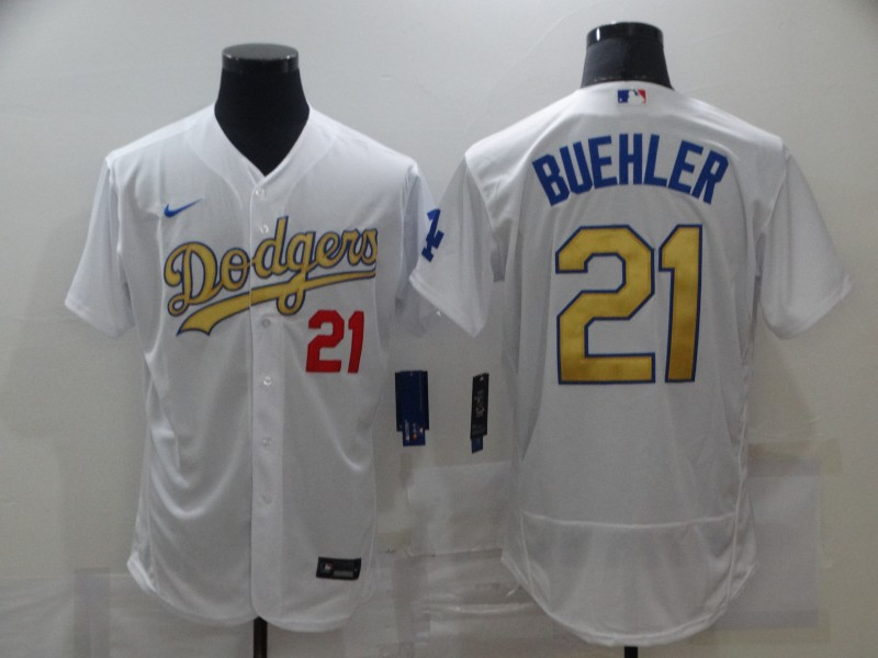 Dodgers 21 Walker Buehler White Gold 2020 Nike Flexbase Jersey