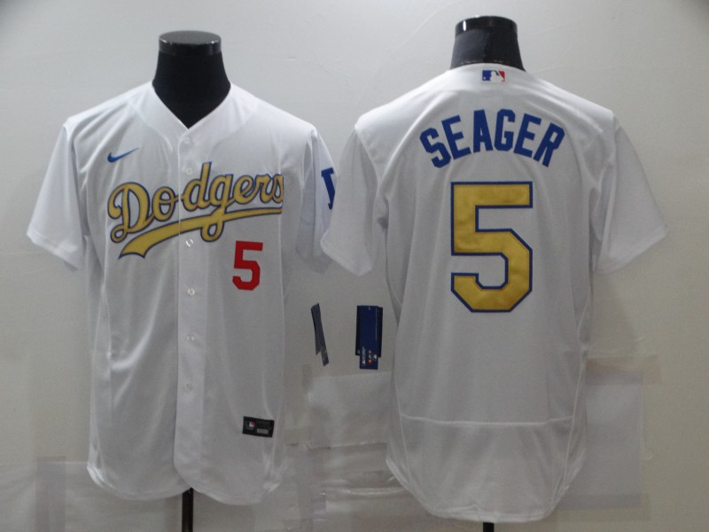 Dodgers 5 Corey Seager White Gold 2020 Nike Flexbase Jersey