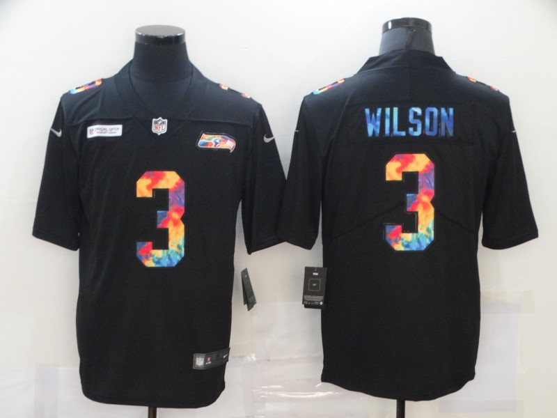 Nike Seahawks 3 Russell Wilson Black Vapor Untouchable Rainbow Limited Jersey