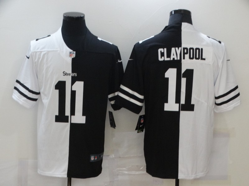 Nike Steelers 11 Chase Claypool Black And White Split Vapor Untouchable Limited Jersey