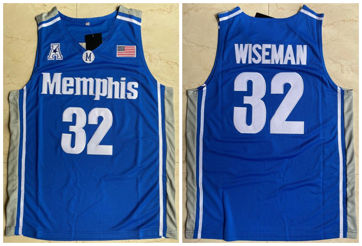 Memphis Tigers 32 James Wiseman Blue College Basketball Jersey