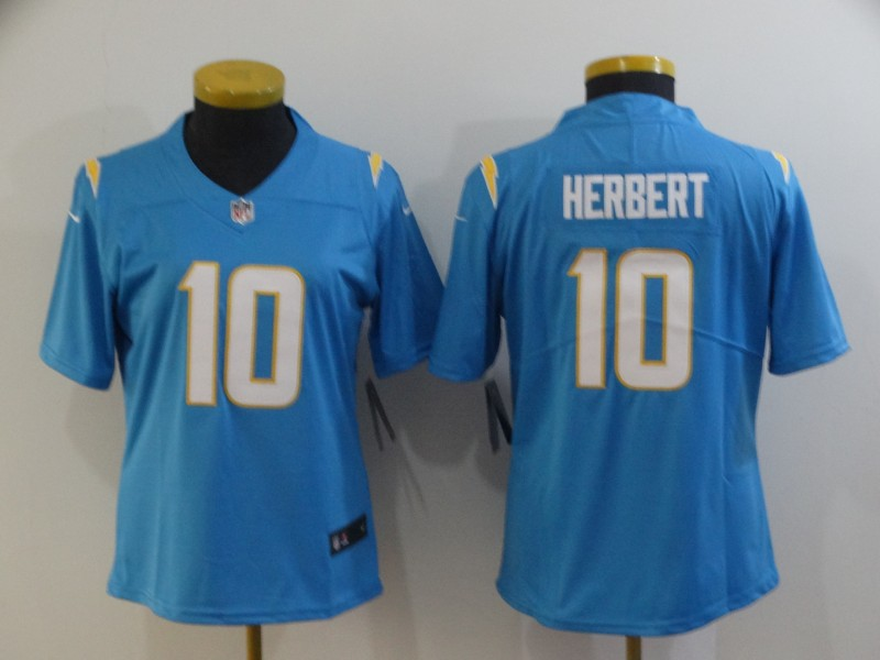 Nike Chargers 10 Justin Herbert Light Blue Women Vapor Untouchable Limited Jersey
