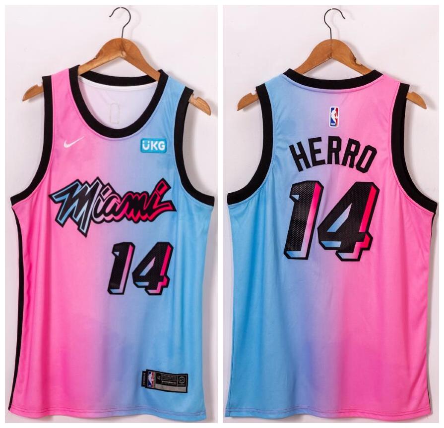 Heat 14 Tyler Herro Blue Pink Nike 2021 City Edition Swingman Jersey