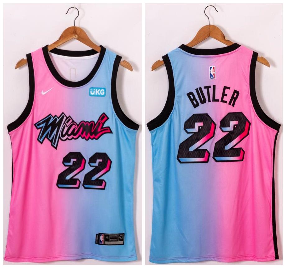 Heat 22 Jimmy Butler Blue Pink Nike 2021 City Edition Swingman Jersey