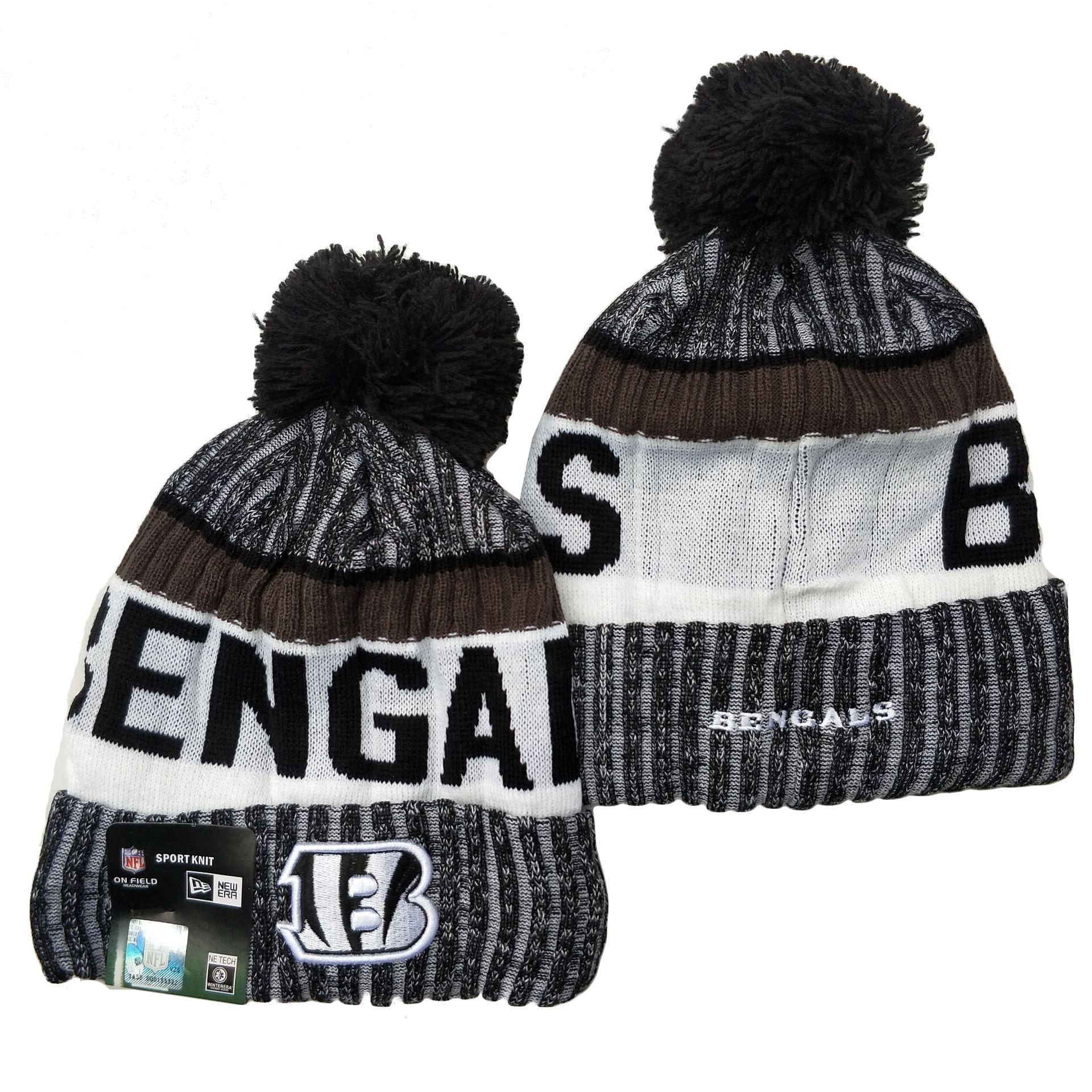 Bengals Team Logo Gray Black White Pom Cuffed Knit Hat YD