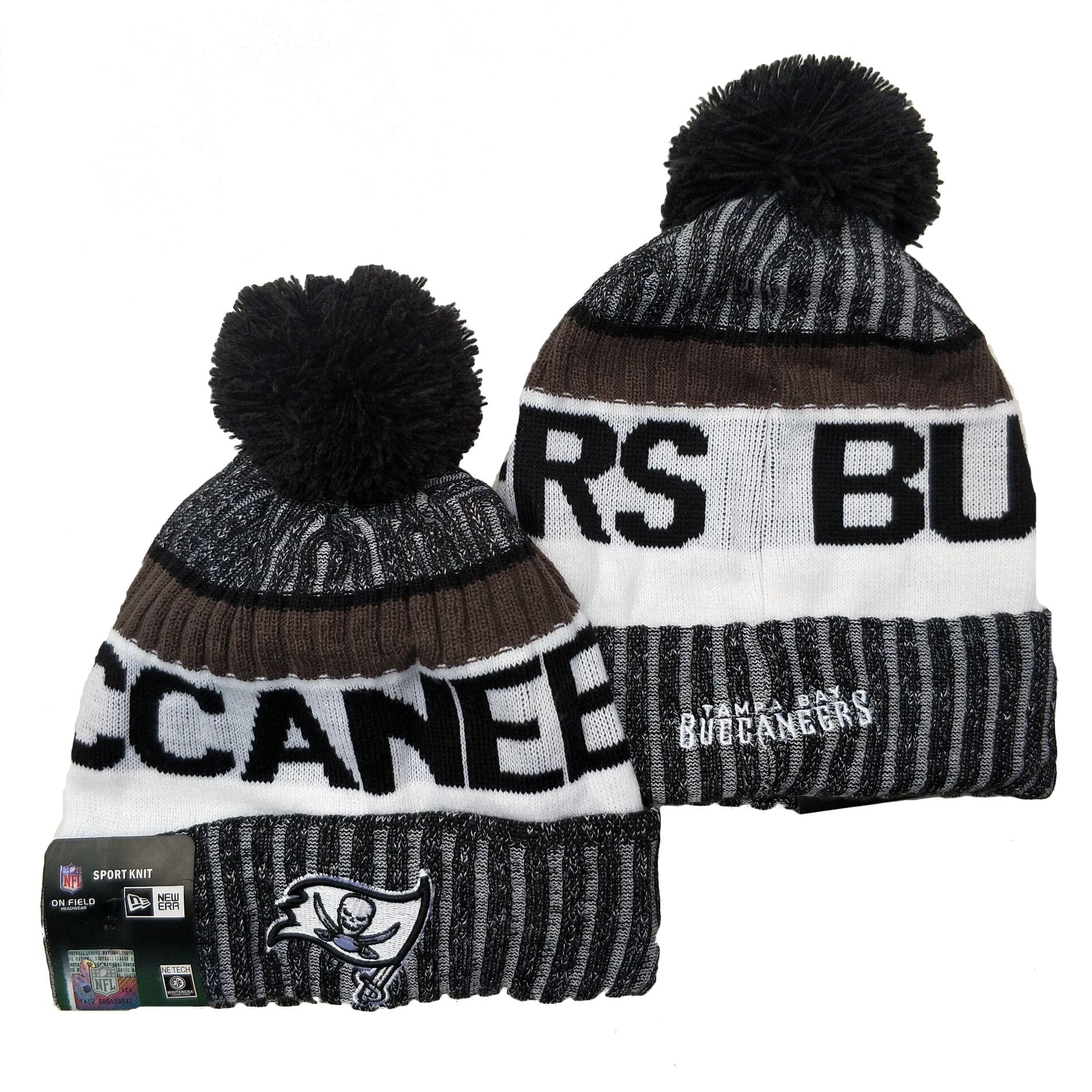 Buccaneers Team Logo Gray Black White Pom Cuffed Knit Hat YD